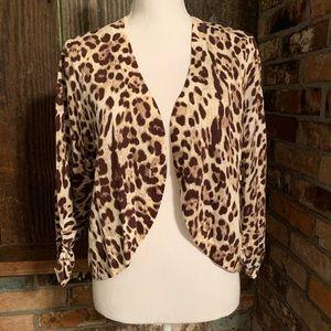 New Cheetah Animal Print Bolero Crop Cardigan